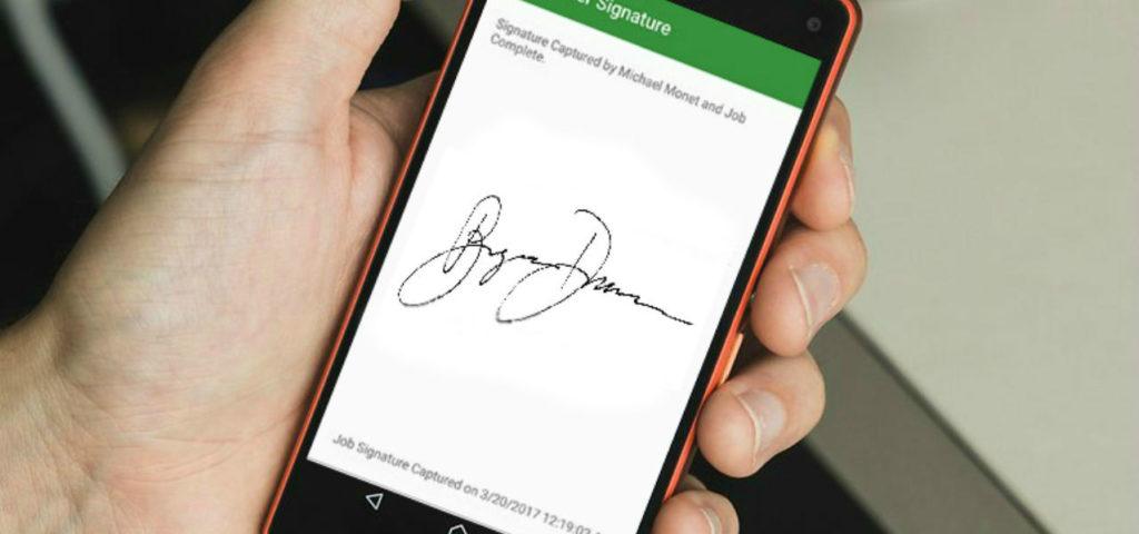 sam mobile app, signature