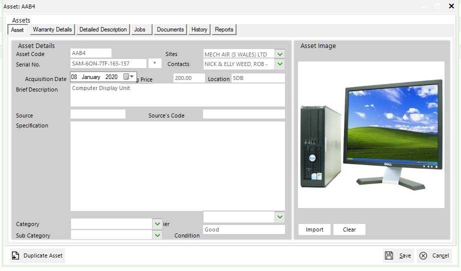 SAM Asset Management Software Main Screen
